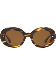 Oliver Peoples Erissa Round Oversized Sunglasses Brown
