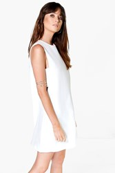 Boohoo Cut Out Tabard Side Shift Dress White