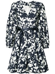 Alexis Blossom Print Flared Dress Blue