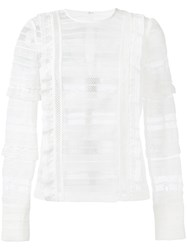 Self Portrait Sheer Panel Long Sleeve Top Women Polyester 10 White