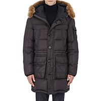 Moncler Men's Fur Trimmed Down Quilted Parka Black Blue Black Blue