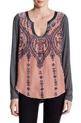 Hale Bob Long Sleeve Burnout Silk Blend Tee Pink