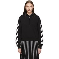 Off White Black Diag Crop Hoodie