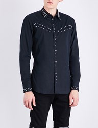Givenchy Studded Contemporary Fit Cotton Shirt Black