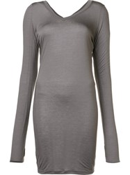 Isabel Benenato Long V Neck T Shirt Grey