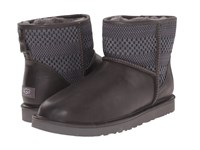 Ugg Classic Mini Weave Charcoal Suede Textile Leather Men's Cold Weather Boots Gray