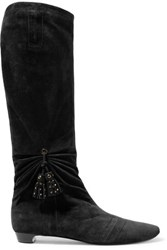 Roger Vivier Embellished Gathered Suede Knee Boots Dark Brown