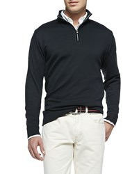 Peter Millar Cotton 1 2 Zip Pullover Black