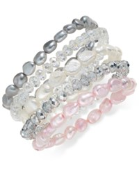 Macy's 5 Pc. Set Multicolor Cultured Freshwater Pearl Baroque 7 8Mm And Crystal Rondel Stretch Bracelets