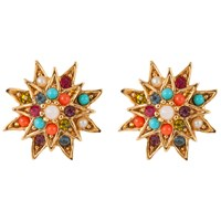 Susan Caplan Vintage 1980S D'orlan 22Ct Gold Plated Swarovski Crystal Clip On Star Earrings Gold Multi