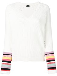 Paul Smith Ps Striped V Neck Sweater White