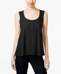 Styleandco. Style And Co. Petite Button Front Tank Only At Macy's Deep Black