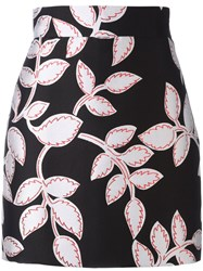 Msgm Metallic Floral Pattern Skirt Black