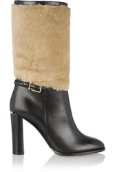 Burberry London London Shearling Paneled Leather Boots Black