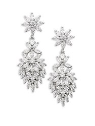 Saks Fifth Avenue Cubic Zirconia Floral Drop Earrings Rhodium