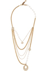 Lulu Frost Voltaire Gold Tone Pearl And Crystal Necklace Metallic