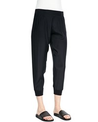 Atm Anthony Thomas Melillo Cropped Pants W Elastic Cuffs Black