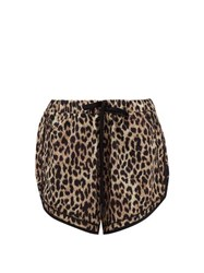 The Upside Leo Violet Leopard Print Satin Shorts Leopard