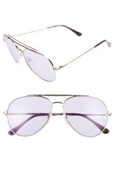 Tom Ford Women's Indiana 60Mm Aviator Sunglasses Striped Purple Rose Gold Striped Purple Rose Gold