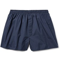 Sunspel Pin Dot Cotton Boxer Shorts Navy