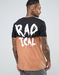 Asos Longline T Shirt With Radical Back Print And Dip Dye Bleach Effect Black Dip Dye