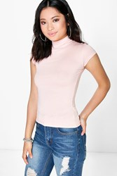 Boohoo Abela Cap Sleeved Turtle Neck Basic Top Nude