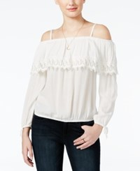 Amy Byer Bcx Juniors' Ruffled Off The Shoulder Top Off White
