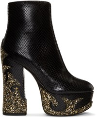 Marc Jacobs Black Snake Embossed Stasha Boots