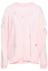Iro Woman Distressed French Cotton Blend Terry Sweatshirt Baby Pink