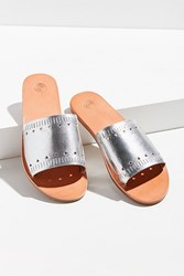 Urban Outfitters Silver Hearts Slide Sandal