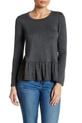 Loveappella Peplum Long Sleeve Tee Petite Black