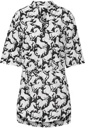 Stella Mccartney Iconic Prints Oversized Cotton And Silk Blend Tunic Black