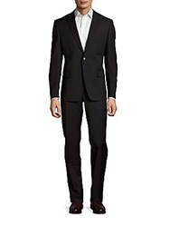 Versace Solid Classic Fit Two Buttoned Suit Black