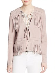 Elizabeth And James Zadeh Fringed Leather Jacket Pink Quartz