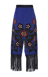 Andrew Gn Bead Embroidered Fringe Pants Blue