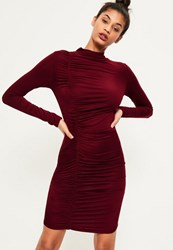 Missguided Burgundy Ruched Detail Bodycon Dress