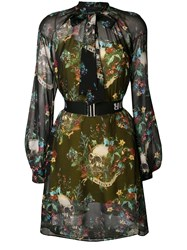 John Richmond Pussy Bow Floral Print Dress Black