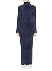 Xiao Li 'Lusso' Rib Knit Turtleneck Maxi Dress Blue