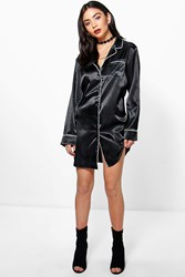 Boohoo Satin Pyjama Shirt Dress Black