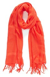 Women's Caslon Linen Blend Scarf Red Red Grenadine