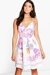 Boohoo Floral Sweetheart Strappy Skater Dress Multi