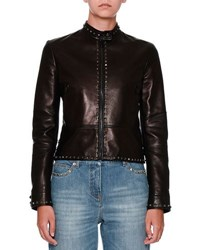 Valentino Untitled Rockstud Leather Biker Jacket Black