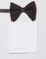 Asos Bow Tie In Black Texture With White Pocket Square Pack Multi