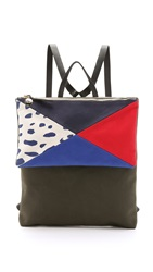 Clare V. Agnes Backpack Army Canvas Patchwork