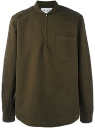 Our Legacy Shawl Collar Zipped Shirt Green