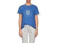 Nsf Moore Rose Print Distressed Cotton T Shirt Blue