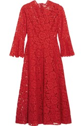Valentino Corded Stretch Silk Guipure Lace Dress Red