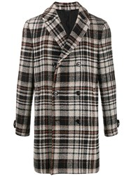 Daniele Alessandrini Double Breasted Checked Coat Black