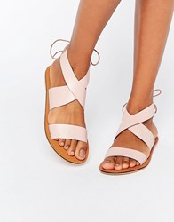 Asos Freckles Leather Lace Up Flat Sandals Pink