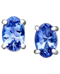Macy's 14K White Gold Earrings Oval Tanzanite Stud 7 8 Ct. T.W.